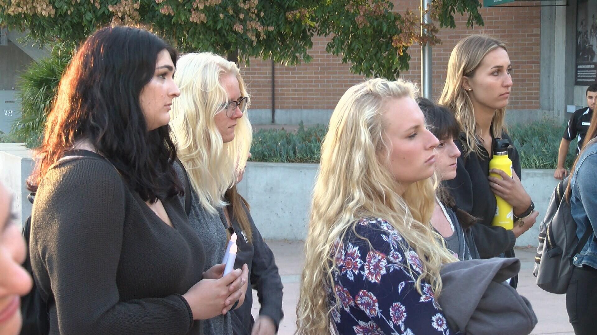 Vigil held at Cal Poly campus for Las Vegas shooting victims (KSBY photo)