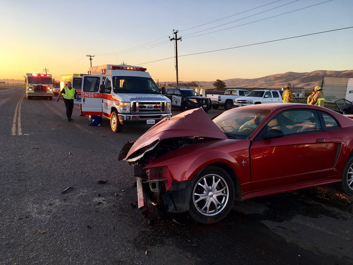 One of two vehicles involved in a crash in Santa Maria Thursday morning. (SB Co. Fire photo)