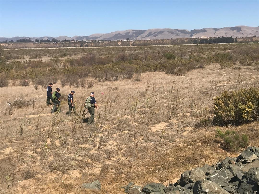 Members of the Santa Barbara County Sheriff's Search and Rescue Team search the Santa Maria Riverbed for evidence. (Photo courtesy Santa Barbara Co. Sheriff's Office)