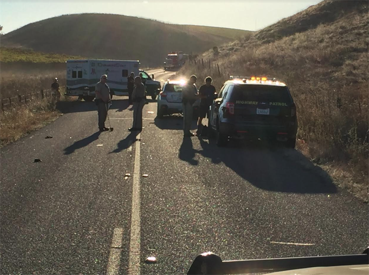 Corbett Canyon Road at Highway 227 was closed Friday morning due to a deadly crash involving a vehicle and bicyclist. (KSBY photo)