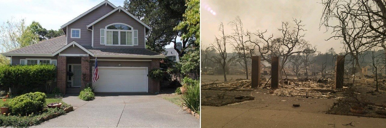 Photos of Cliff De Graw's house before and after it was destroyed by fire. (Courtesy Cliff De Graw)