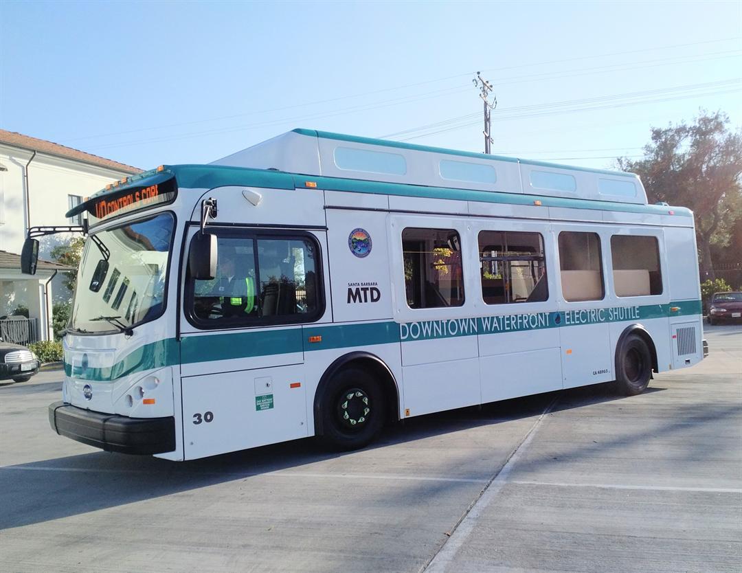 One of the new electric shuttles in Santa Barbara. (Photo courtesy Santa Barbara Metropolitan Transit District)