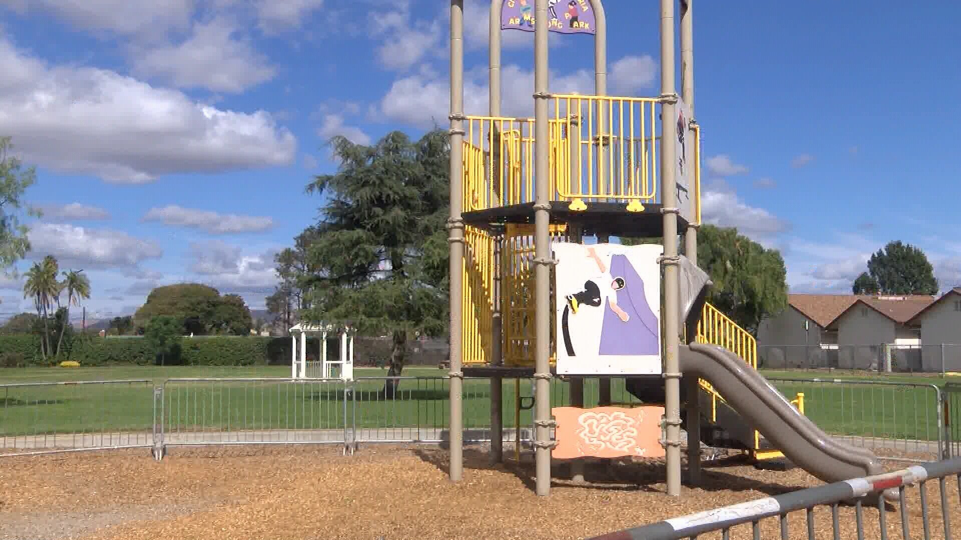 The playground at Armstrong Park was destroyed in a fire. (KSBY photo)