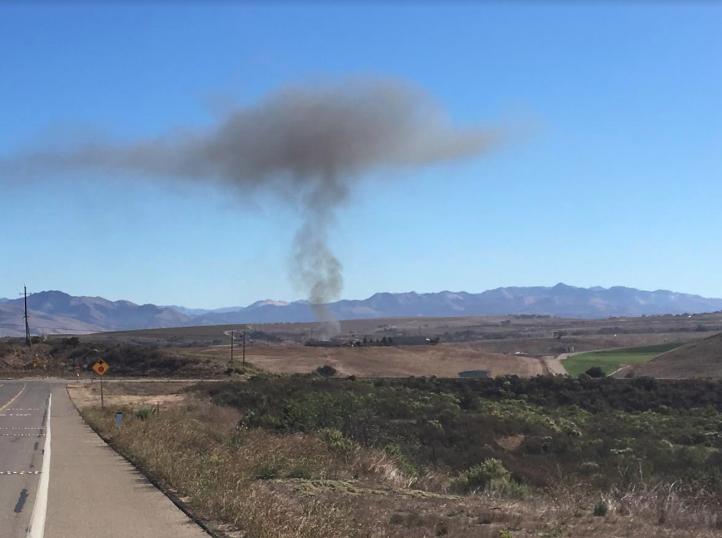 A fire was reported shortly before 10:29 a.m. Monday near the area of East Clark Avenue and Dominion Road in Santa Maria. (KSBY photo)