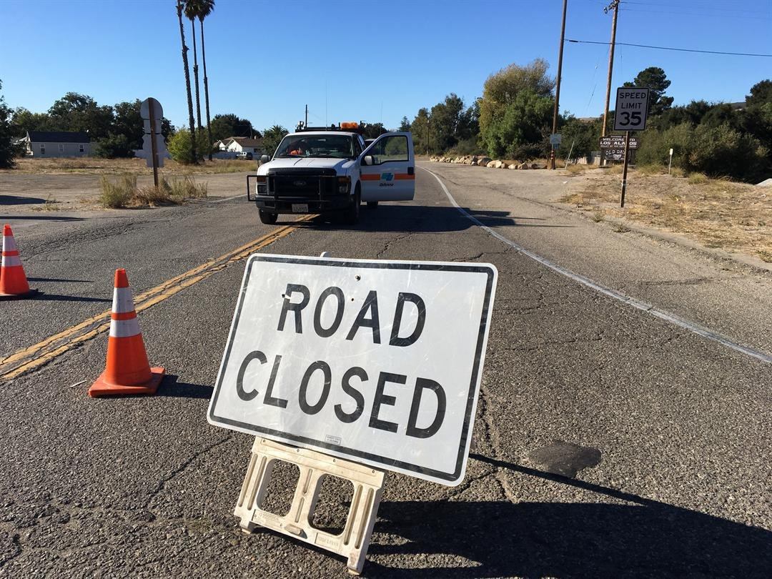 A gas leak closed some roads in Los Alamos Monday. (KSBY photo)