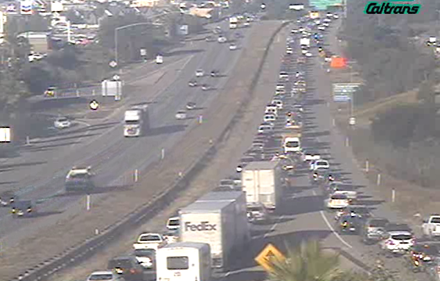 Caltrans traffic cameras showed Highway 101 in Pismo Beach backing up Tuesday morning due to a crash.