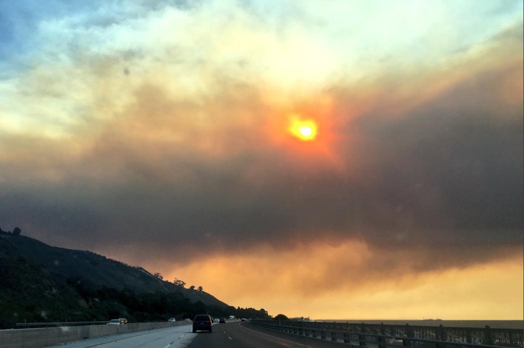 KSBY Photo: Thomas Fire smoke over Carpinteria 12/5/17