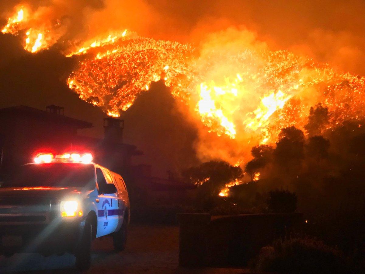 Flames could be seen above Bella Vista Drive near Romero Canyon in Montecito Tuesday night. (Photo: Mike Eliason/SB Co. Fire)