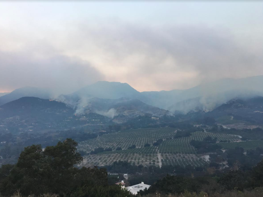 Flames from the Thomas Fire could be seen from Summerland Wednesday morning. (KSBY photo)