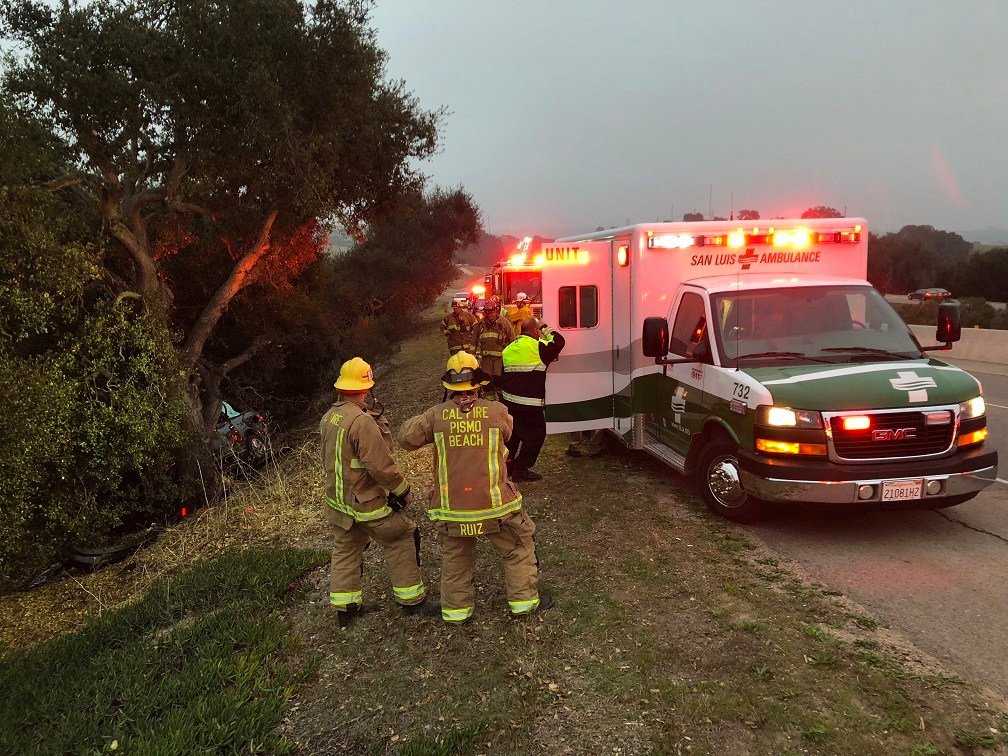 The driver was able to walk himself back to the roadway and the waiting ambulance. (KSBY photo)