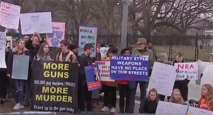 Students lie outside the White House in honor of the Florida victims. (NBC News)