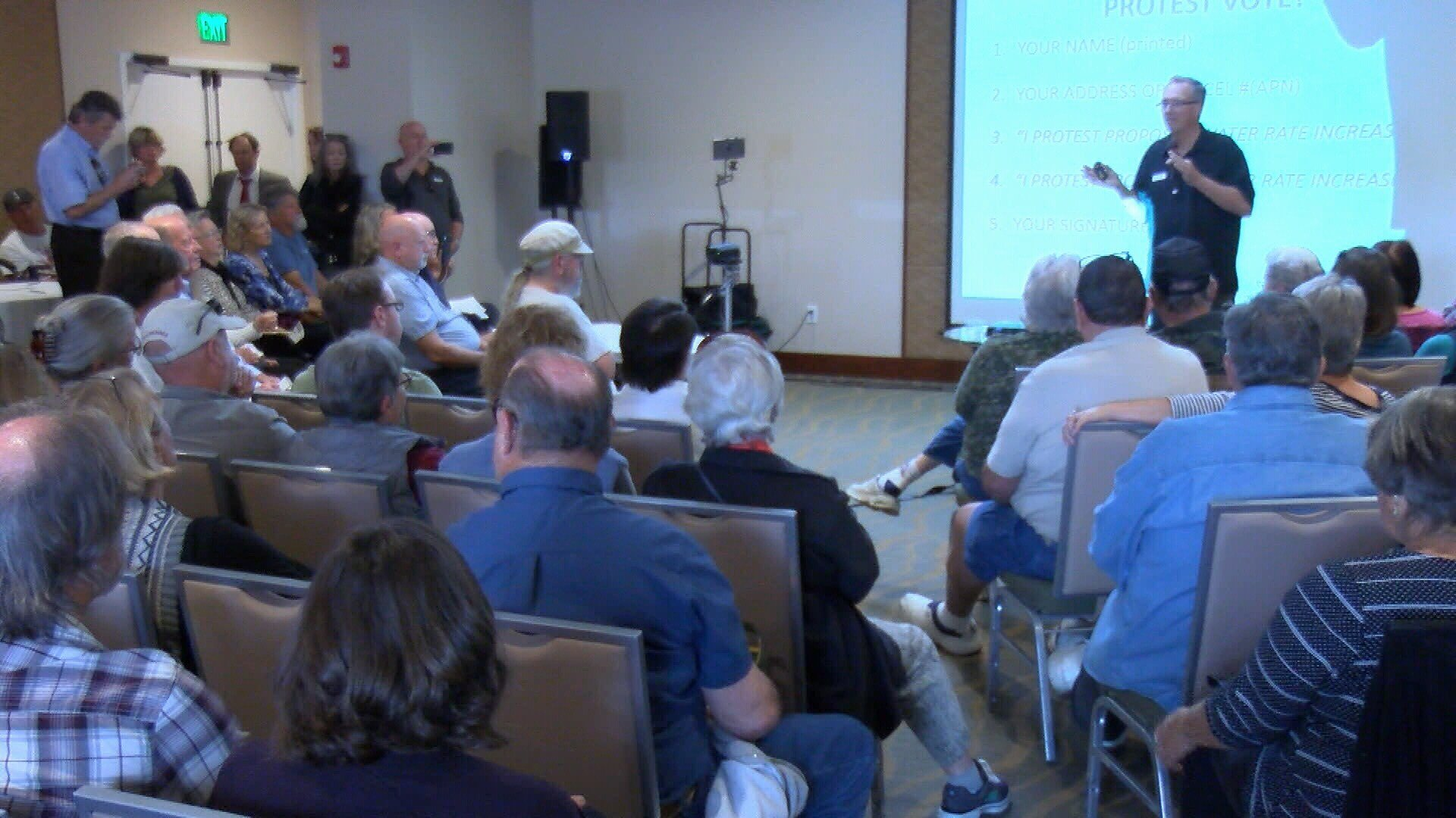 Residents gather to protest the Morro Bay city plans for a new sewer treatment facility project. (KSBY photo)