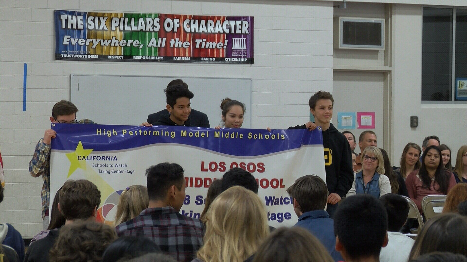 Los Osos Middle School was presented with a special banner Monday to recognize its achievement. (KSBY photo)