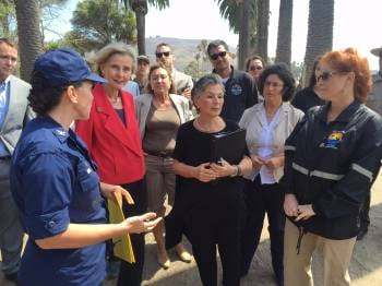 Rep. Lois Capps and Sen. Barbarba Boxer visit the site of the Refugio State Beach oil spill. (KSBY photo)