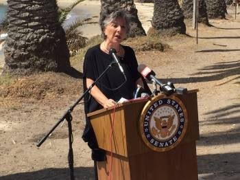 Sen. Barbara Boxer speaks after touring the site of the Refugio State Beach oil spill. (KSBY photo)