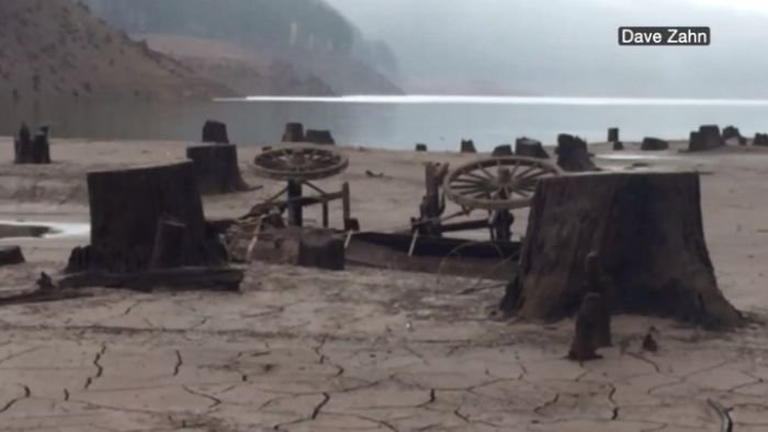 After months of drought, Water in Oregon's Detroit Lake is at a 46 year low revealing an underwater town. (KTVZ)