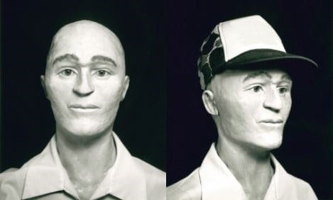 This clay model of a man's head was based on the unidentified remains found near the Cambria Cemetery in 1987. (San Luis Obispo Co. Sheriff's Office)