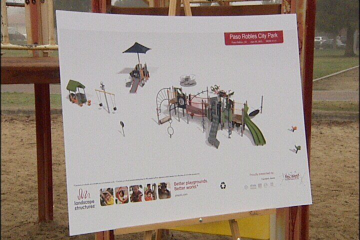 A rendering of the new playground on display at the groundbreaking ceremony Thursday at Paso Robles City Park. (KSBY)