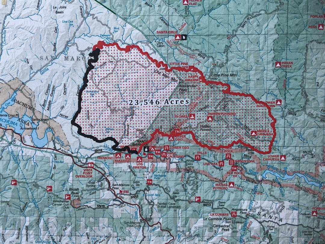 Map of the Rey Fire area as of Monday morning.