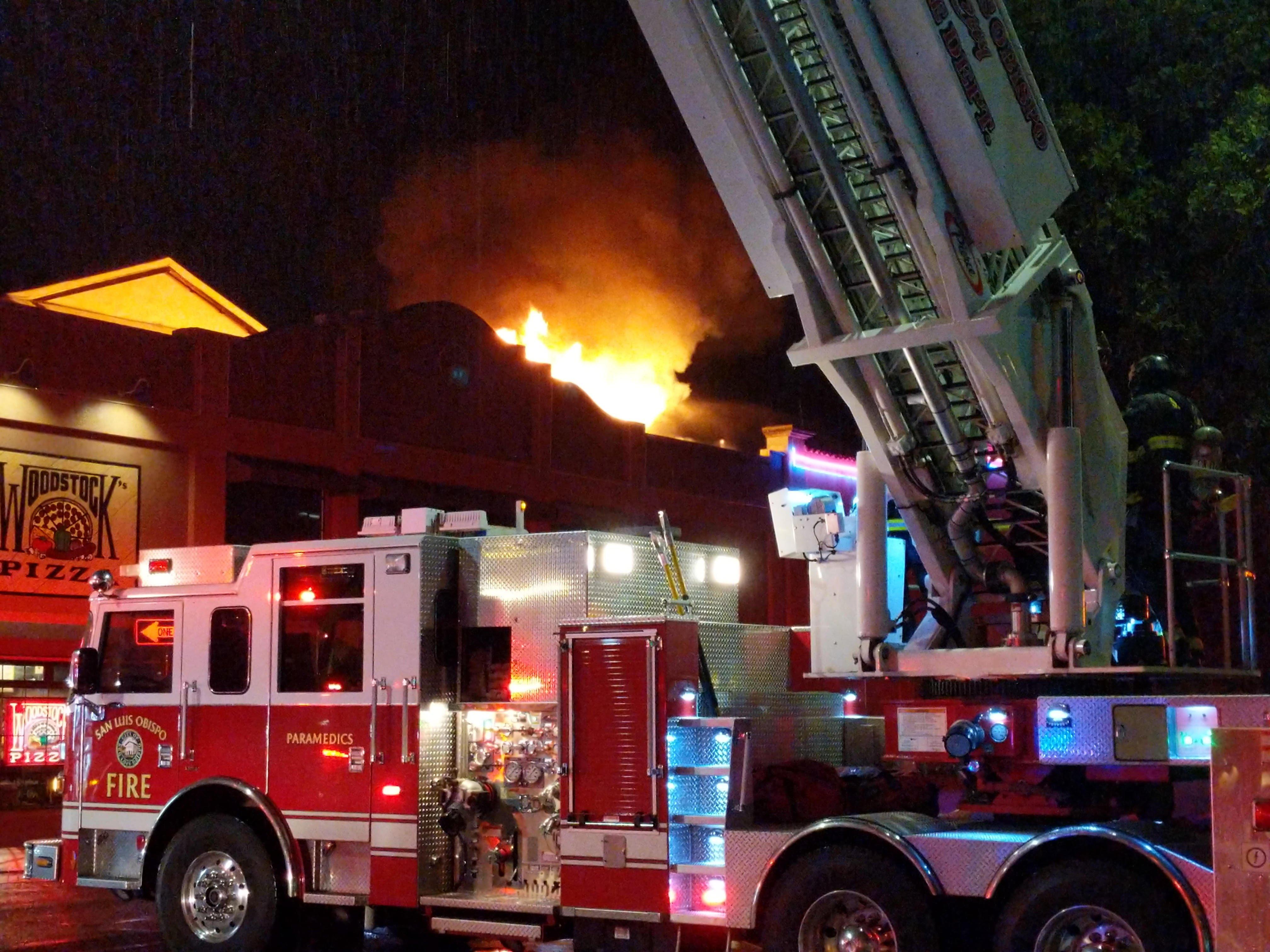 Fire extinguished near Woodstock\'s Pizza in San Luis Obispo - KSBY ...