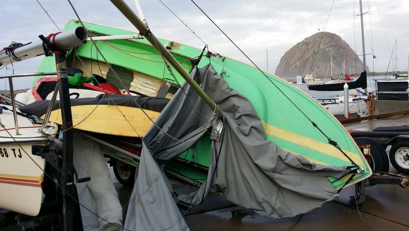 Winds Whip Through Morro Bay, Tossing Boats Off Trailers